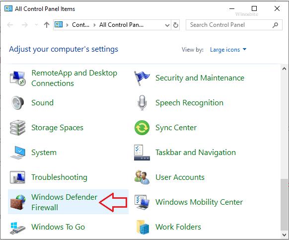 Брандмауэр защитника Windows в панели управления