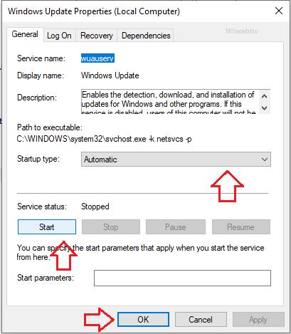 Свойства Центра обновления Windows автоматически