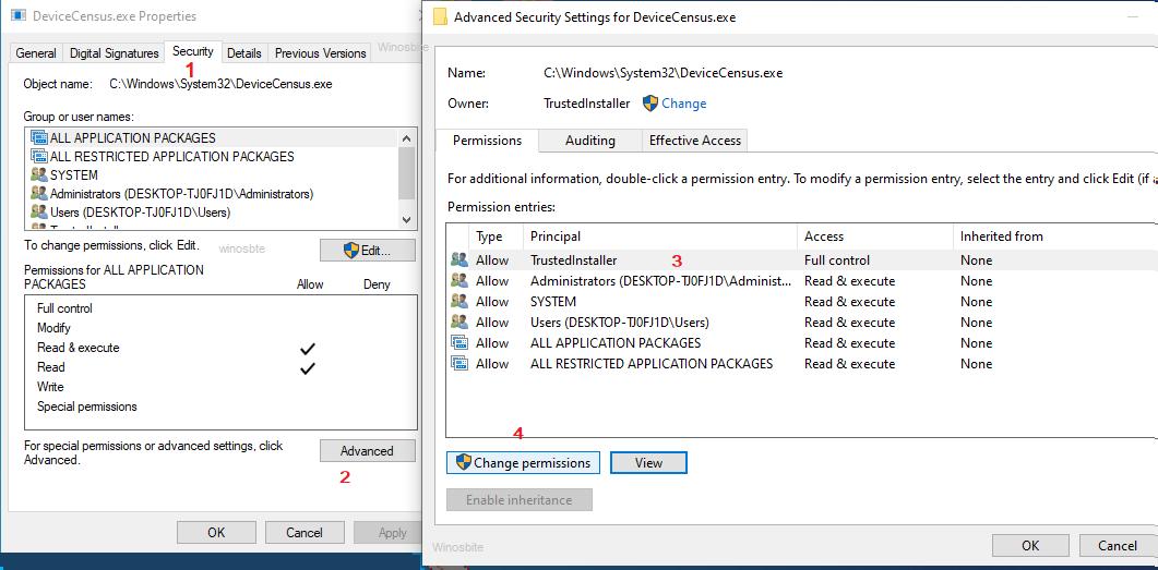 Расширенные настройки безопасности для devicecensus.exe