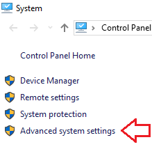 Расширенные системные настройки в Windows 10