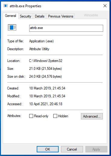 attrib.exe свойства файла