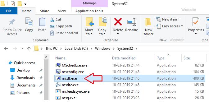 Расположение файла msdt.exe