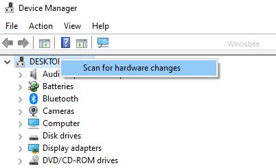 Сканирование аппаратных изменений в диспетчере устройств
