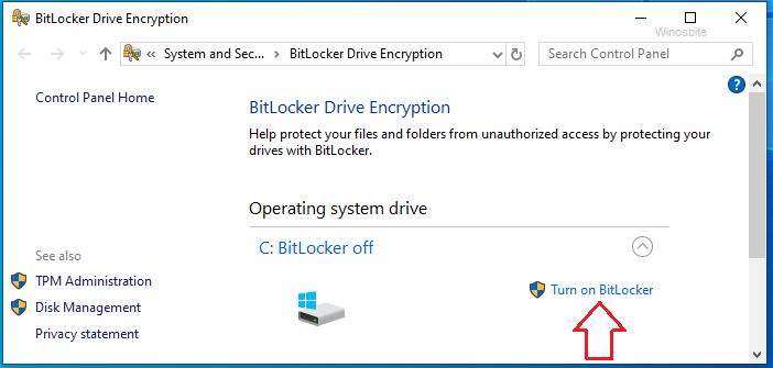 Включите Bitlocker в Windows 10
