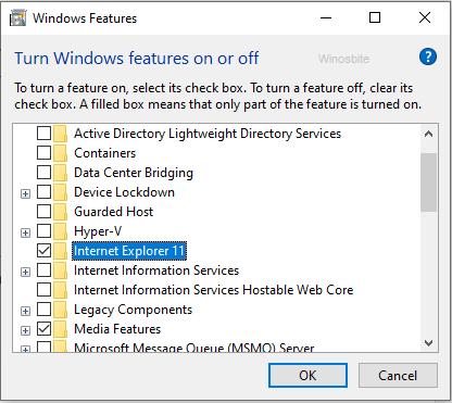 Включение и отключение функций Windows в Internet Explorer