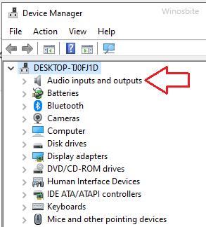 аудио входы и выходы диспетчера устройств