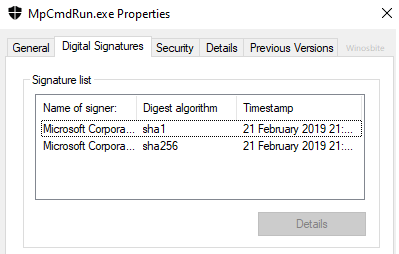 mpcmdrun digital- подписи