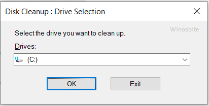 Очистка диска выберите диск