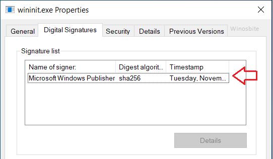 цифровые подписи winint.exe