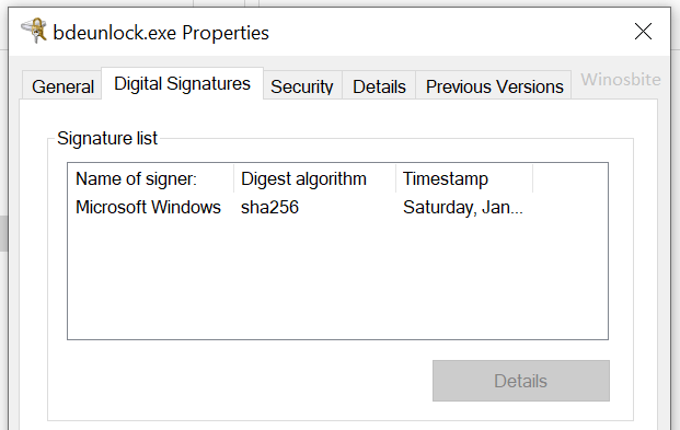 bdeunlock свойства цифровых подписей