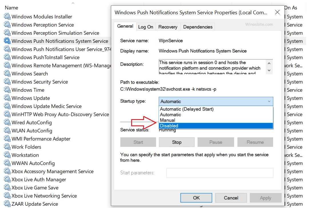 Отключить системную службу push-уведомлений Windows