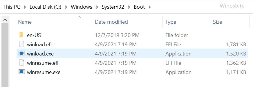 Расположение файла Winload.exe