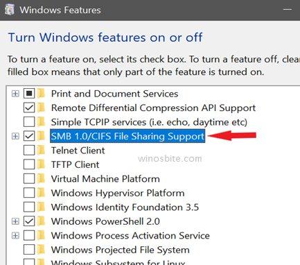 SMB1.0 включить или выключить функцию Windows