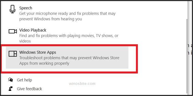 опция приложений для магазина Windows